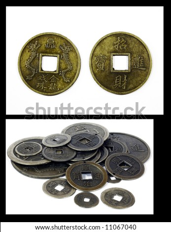 collage feng shui. Collage Of Feng Shui Chinese Good Luck Coins.