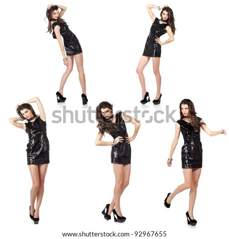 Collage of five isolated images of an attractive fashion model posing in black sequin dress. High resolution studio shots. - stock photo