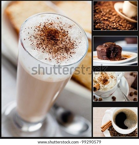 Collage of five photographs of coffee and cake - stock photo
