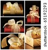 Collage of five still life with red and gold gifts on black background. - stock photo