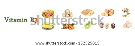 Collage of food containing vitamin B3 - stock photo