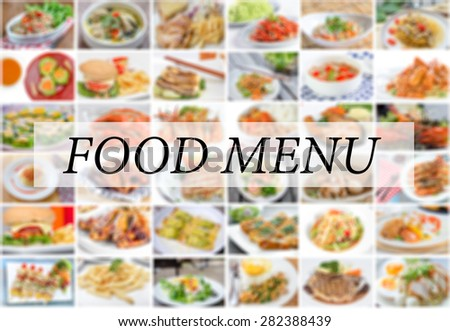 collage of food menu asian, american and chinese - stock photo