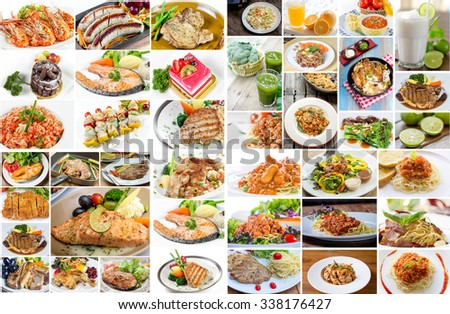 Collage food menu asian american chinese stock photo for Asian american cuisine