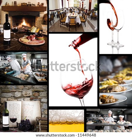 Collage of food related pictures - stock photo