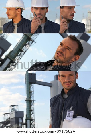 Collage of foreman portraits - stock photo