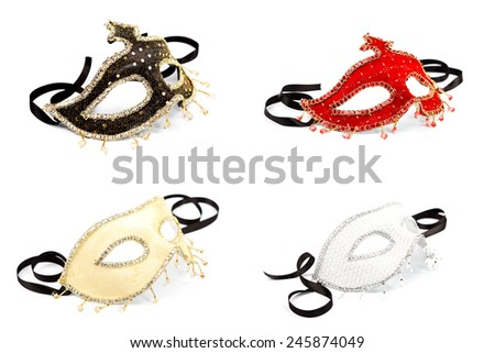 Collage of four carnival masks over white background - stock photo