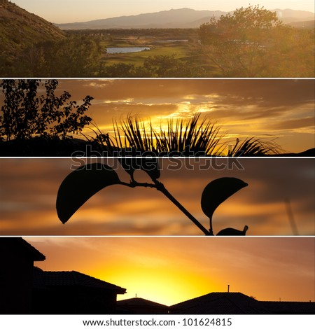 collage of four different sunsets including, golf, silhouettes, and homes - stock photo