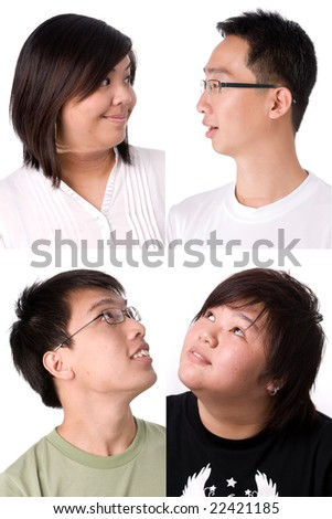 collage of four different teenagers looking at each other - stock photo