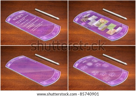 Collage of four futuristic cell phones or tablets with different screens: newspaper page, image gallery, copy space, icon menu. - stock photo