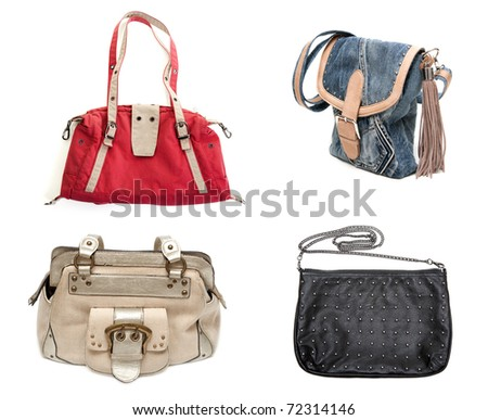 collage of four handbags isolated on a white background. Image composed of multiple photos - stock photo