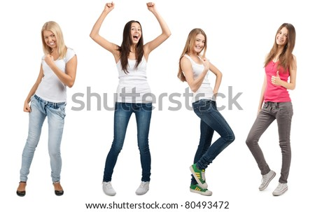 Collage of four happy excited young women with arms extended  in different perspectives. Over white background
