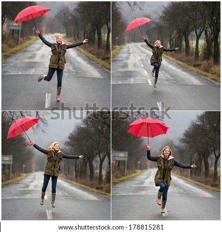 Collage of four images, woman running  and jumping in the rain with red umbrella - stock photo