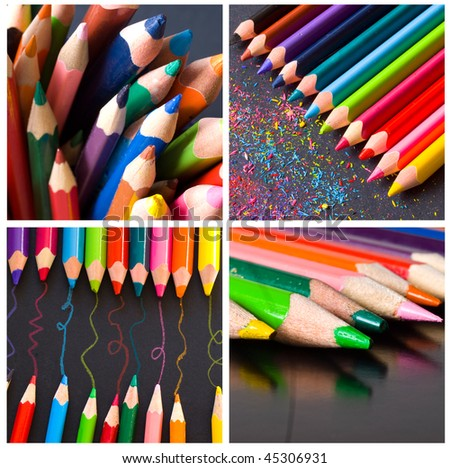 collage of four photos of pencils