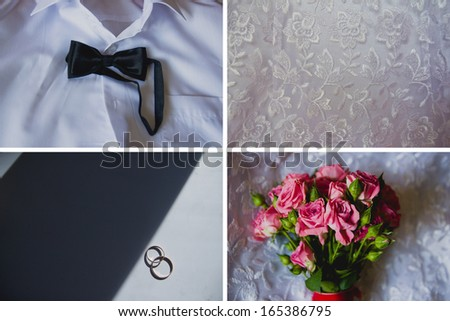Collage of four photos of preparations for wedding day, bouquet, rings, shirt, bridesmaid dress. - stock photo