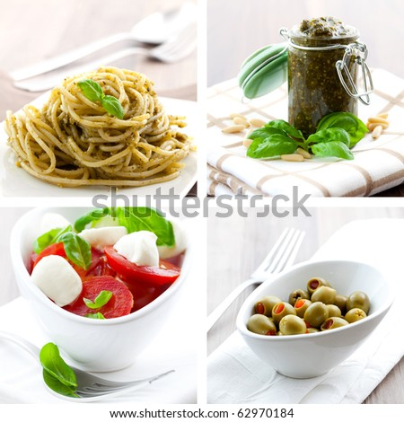 collage of four pictures of italien food - stock photo