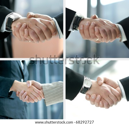 Collage of four shoots of handshake over modern abstract background - stock photo