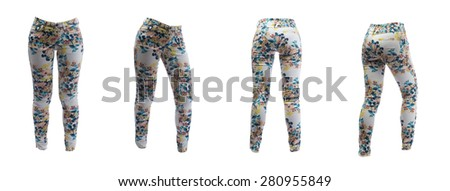 Collage of four women's pants in a flower pattern in different poses. Isolate on white.