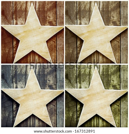 collage of four wooden vintage stars