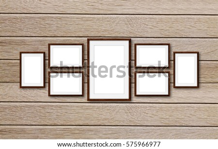 Collage Frames On Wooden Panels Wall Stock Photo (Royalty Free ...