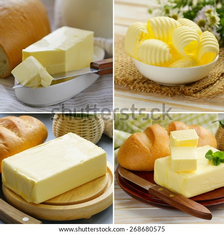 collage of fresh dairy organic yellow butter for breakfast  - stock photo