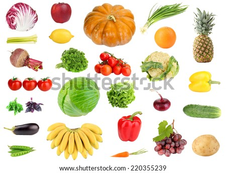 Collage of fresh fruit and vegetables isolated on white - stock photo