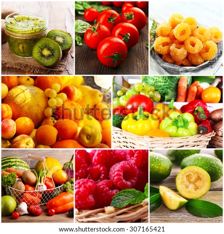 Collage of fresh fruits and vegetables - stock photo