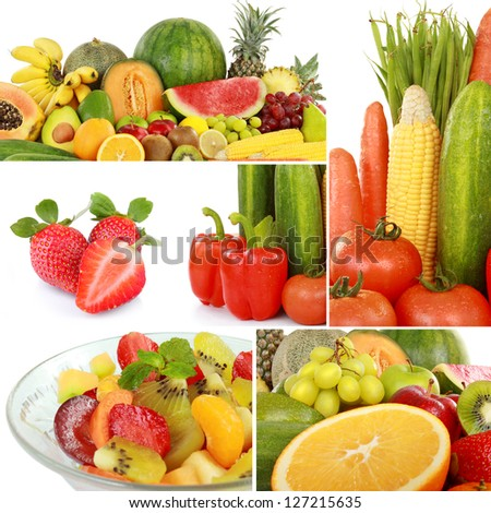 collage of fresh fruits and vegetables isolated on white background