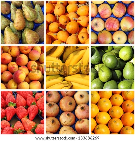 Collage of fresh fruits backgrounds - stock photo