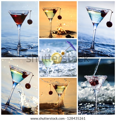 Collage of fresh martini party cocktail standing in the water - stock photo