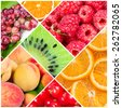 Collage of fresh summer fruit and berries - stock photo