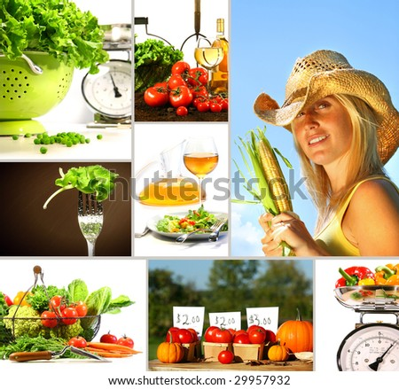 Collage of fresh summer vegetables ready for eating - stock photo