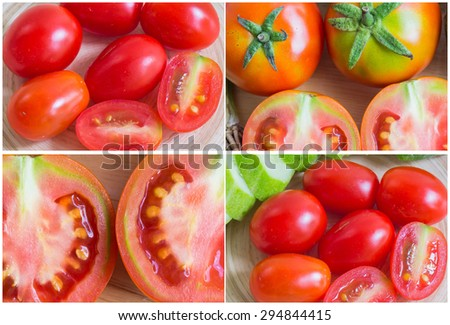 Collage of fresh vegetable, ripe tomatoes - stock photo