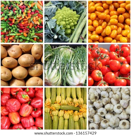Collage of fresh vegetables backgrounds