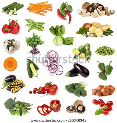Collage of fresh vegetables, isolated on white. - stock photo