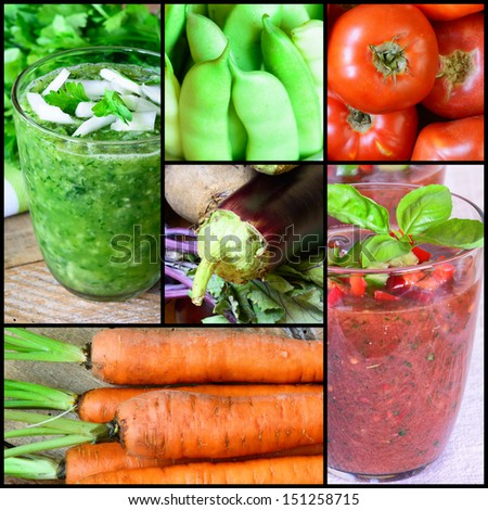 Collage of fresh vegetables. Smoothie, tomatoes, eggplants, carrots, and French beans - stock photo