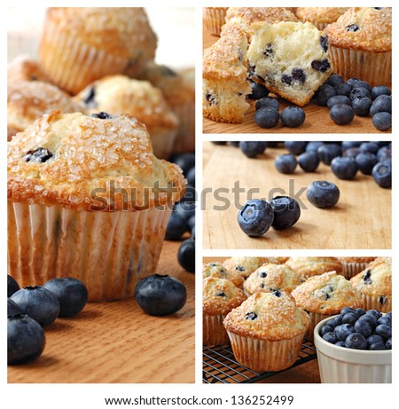 Collage of freshly baked blueberry muffins topped with sugar sprinkles - stock photo