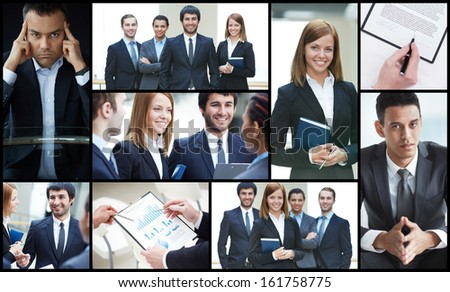 Collage of friendly businesspeople and hands with paperwork
