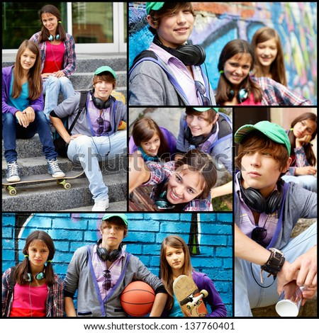 Collage of friendly teens in casual clothes at leisure - stock photo