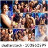 Collage of friends at the bridal party - stock photo