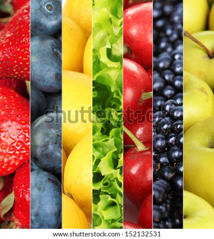 Collage of fruits and berries close-up background - stock photo