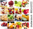 Collage of fruits and fruit desserts.  Delicious healthy eating. - stock photo