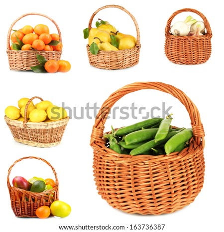 Collage of fruits and vegetables in wicker basket isolated on white