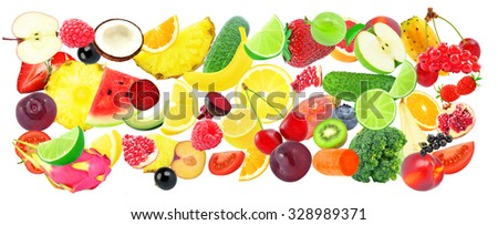 collage of fruits and vegetables isolated on a white background - stock photo