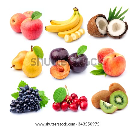 Collage of fruits on white close up - stock photo