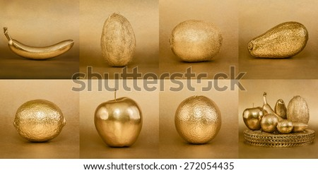Collage of fruits with golden peel on gold background - stock photo