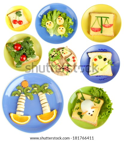 Collage of fun food for kids isolated on white