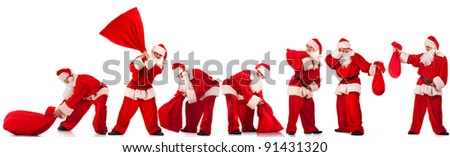 Collage of Funny Santos Clause with red sack in several different poses. Isolated on white. - stock photo