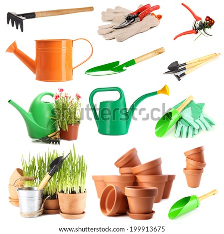 Collage of gardening tools isolated on white - stock photo