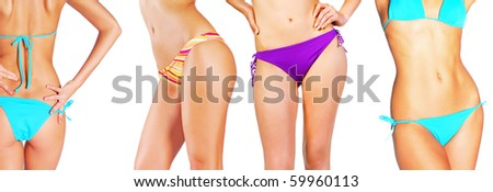 collage of girls body - stock photo