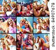 Collage of glad guys and girls dancing and singing at party - stock photo